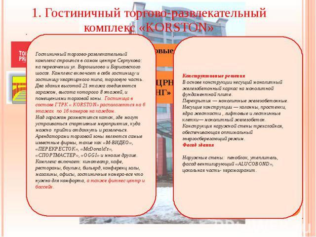 1. Гостиничный торгово-развлекательный комплекс «KORSTON» Заказчик: ЗАО «Торговые ряды»
