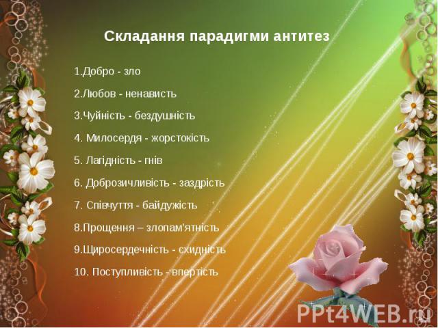 Складання парадигми антитез Складання парадигми антитез 1.Добро - зло 2.Любов - ненависть 3.Чуйність - бездушність 4. Милосердя - жорстокість 5. Лагідність - гнів 6. Доброзичливість - заздрість 7. Співчуття - байдужість 8.Прощення – злопам'ятність 9…