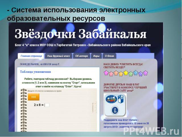 - Система использования электронных образовательных ресурсов