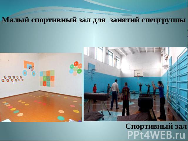 Малый спортивный зал для занятий спецгруппы Малый спортивный зал для занятий спецгруппы Спортивный зал