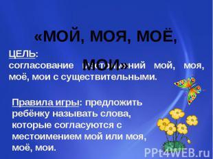 «МОЙ, МОЯ, МОЁ, МОИ» ЦЕЛЬ: согласование местоимений мой, моя, моё, мои с существ