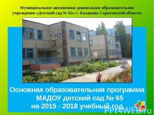 Основная образовательная программа МАДОУ детский сад № 65 на 2015 - 2018 учебный