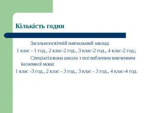 Загальноосвітній навчальний заклад: 1 клас - 1 год., 2 клас-2 год., 3 клас-2 год