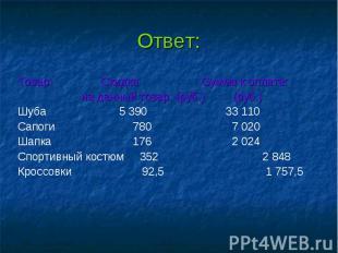 Ответ: Товар: Скидка Сумма к оплате: на данный товар: (руб.) (руб.) Шуба 5 390 3