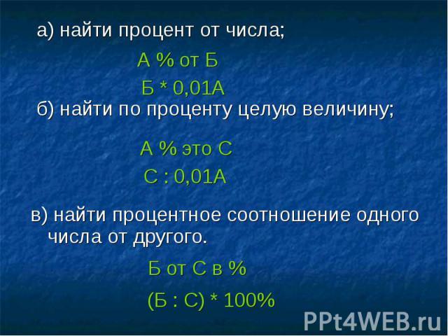 а) найти процент от числа; а) найти процент от числа; б) найти по проценту целую величину; в) найти процентное соотношение одного числа от другого.
