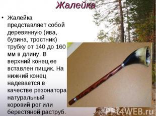 Жалейка представляет собой деревянную (ива, бузина, тростник) трубку от 140 до 1