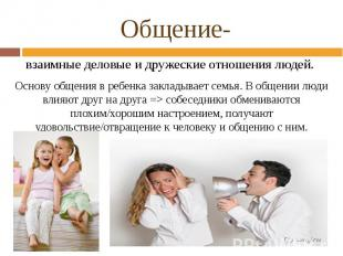 Общение- взаимные деловые и дружеские отношения людей. Основу общения в ребенка
