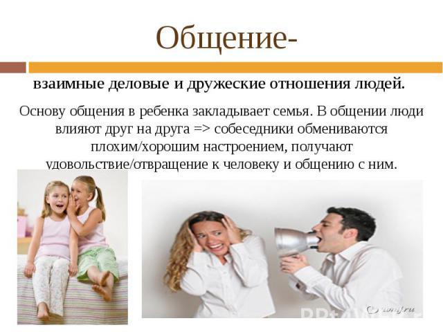Общение- взаимные деловые и дружеские отношения людей. Основу общения в ребенка закладывает семья. В общении люди влияют друг на друга => собеседники обмениваются плохим/хорошим настроением, получают удовольствие/отвращение к человеку и общению с ним.