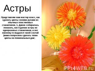 Астры Представляю вам мастер класс, как сделать цветы своими руками из обычных п
