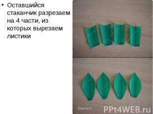 Оставшийся стаканчик разрезаем на 4 части, из которых вырезаем листики Оставшийс