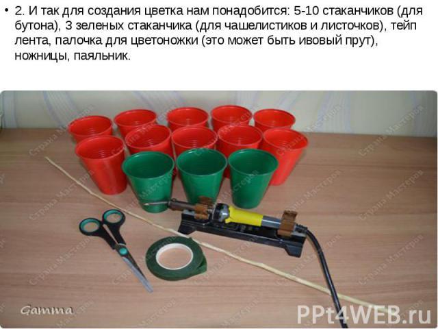 2. И так для создания цветка нам понадобится: 5-10 стаканчиков (для бутона), 3 зеленых стаканчика (для чашелистиков и листочков), тейп лента, палочка для цветоножки (это может быть ивовый прут), ножницы, паяльник. 2. И так для создания цветка нам по…