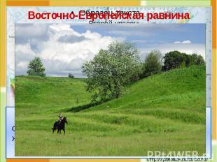 Восточно-Европейская равнина Это холмистая равнина. На карте она изо-бражена све
