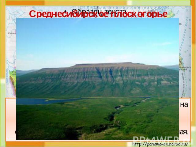 Среднесибирское плоскогорье Плоскогорье – это место с равнинной или холмистой поверхностью, лежащее высоко над уровнем моря. На карте на этом участке есть все 3 цвета: зелёный, жёлтый, коричневый