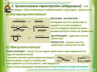 2. Хромосомные перестройки (аберрации) - это мутации, обусловленные изменением с