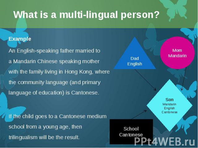 Example Example An English-speaking father married to aMandarin Chinesespeaking mother with the family living inHong Kong, where the community language (and primary language of education) is Cantonese. If the child goes to a Canton…