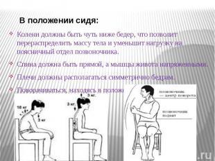 В положении сидя: В положении сидя: Колени должны быть чуть ниже бедер, что позв
