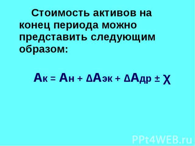 Стоимость активов на конец периода можно представить следующим образом: Стоимость активов на конец периода можно представить следующим образом: Ак = Ан + ∆Аэк + ∆Адр ± χ
