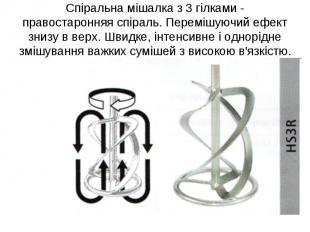 Спіральна мішалка з 3 гілками - правостаронняя спіраль. Перемішуючий ефект знизу