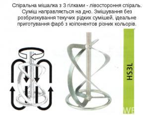 Спіральна мішалка з 3 гілками - лівостороння спіраль. Суміш направляється на дно