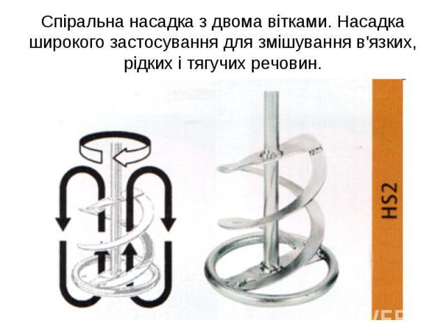 Спіральна насадка з двома вітками. Насадка широкого застосування для змішування в'язких, рідких і тягучих речовин.