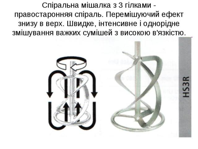 Спіральна мішалка з 3 гілками - правостаронняя спіраль. Перемішуючий ефект знизу в верх. Швидке, інтенсивне і однорідне змішування важких сумішей з високою в'язкістю.