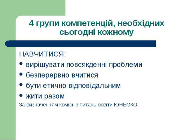 НАВЧИТИСЯ: НАВЧИТИСЯ: вирішувати повсякденні проблеми безперервно вчитися бути етично відповідальним жити разом За визначенням комісії з питань освіти ЮНЕСКО