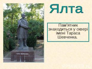 Пам'ятник знаходиться у сквері імені Тараса Шевченка. Пам'ятник знаходиться у ск