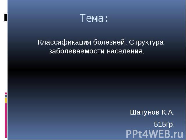 Тема: Классификация болезней. Структура заболеваемости населения. Шатунов К.А. 515гр.