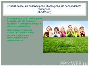 Стадия освоения половой роли. Формирование полоролевого поведения (3-6-12 лет) В