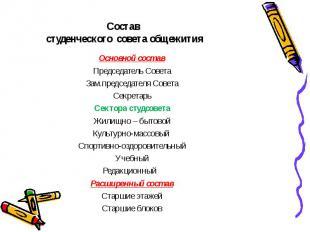 Основной состав Основной состав Председатель Совета Зам.председателя Совета Секр