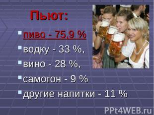 пиво - 75,9 % пиво - 75,9 % водку - 33 %, вино - 28 %, самогон - 9 % другие напи