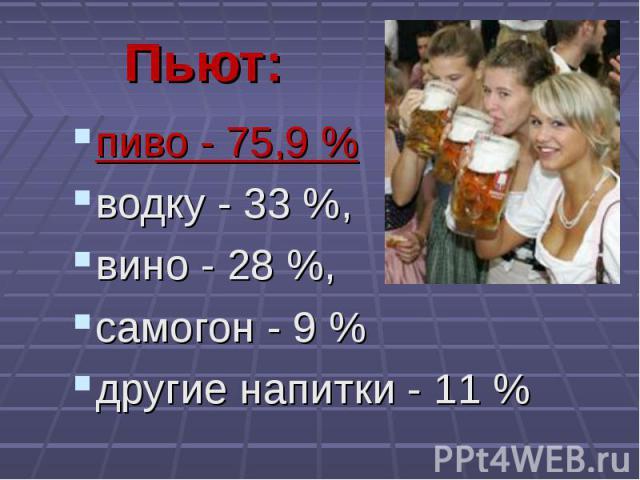 пиво - 75,9 % пиво - 75,9 % водку - 33 %, вино - 28 %, самогон - 9 % другие напитки - 11 %