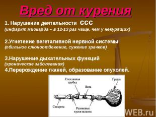 Вред от курения 1. Нарушение деятельности ссс (инфаркт миокарда – в 12-13 раз ча