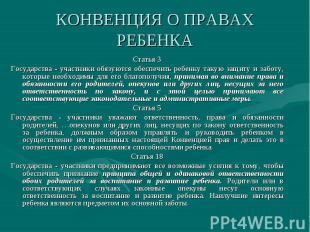 Статья 3 Статья 3 Государства - участники обязуются обеспечить ребенку такую защ