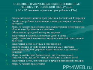 Законодательные гарантии прав ребенка в Российской Федерации Законодательные гар