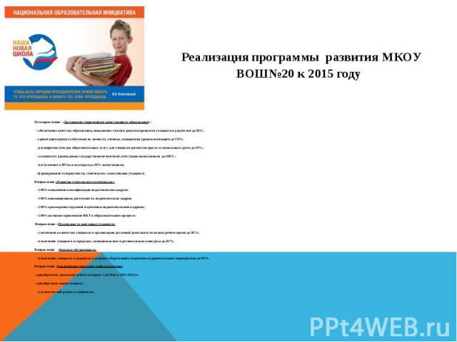 Реализация программы развития МКОУ ВОШ№20 к 2015 году По направлению «Достижение современного качественного образования»: - обеспечение качества образования, повышение степени удовлетворенности учащихся и родителей до 20%; - ориентация процесс…