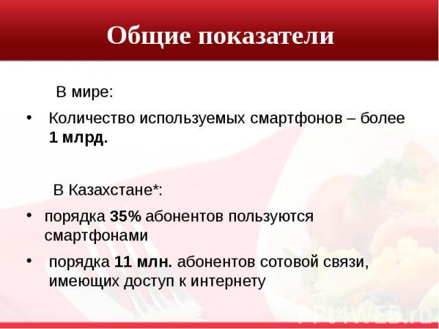 Общие показатели В мире: Количество используемых смартфонов – более 1 млрд. В Казахстане*: порядка 35% абонентов пользуются смартфонами порядка 11 млн. абонентов сотовой связи, имеющих доступ к интернету
