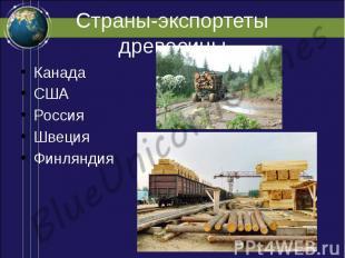 Страны-экспортеты древесины Канада США Россия Швеция Финляндия