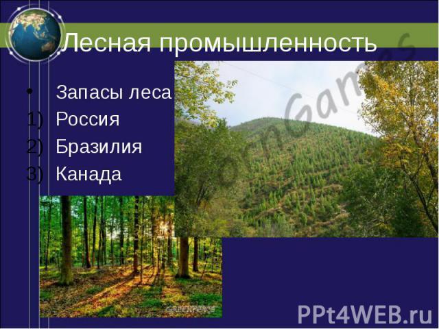Лесная промышленность Запасы леса Россия Бразилия Канада