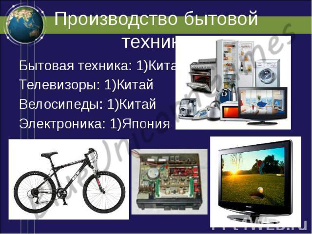 Производство бытовой техники Бытовая техника: 1)Китай Телевизоры: 1)Китай Велосипеды: 1)Китай Электроника: 1)Япония