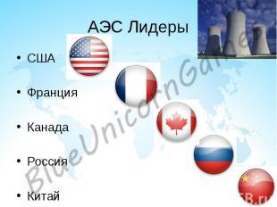 АЭС Лидеры США Франция Канада Россия Китай