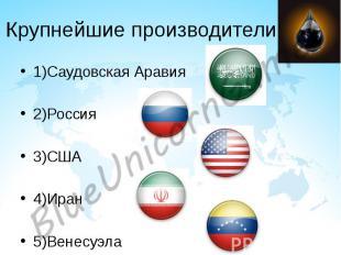 Крупнейшие производители 1)Саудовская Аравия 2)Россия 3)США 4)Иран 5)Венесуэла