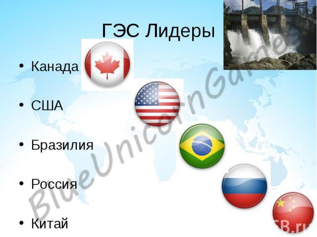 ГЭС Лидеры Канада США Бразилия Россия Китай