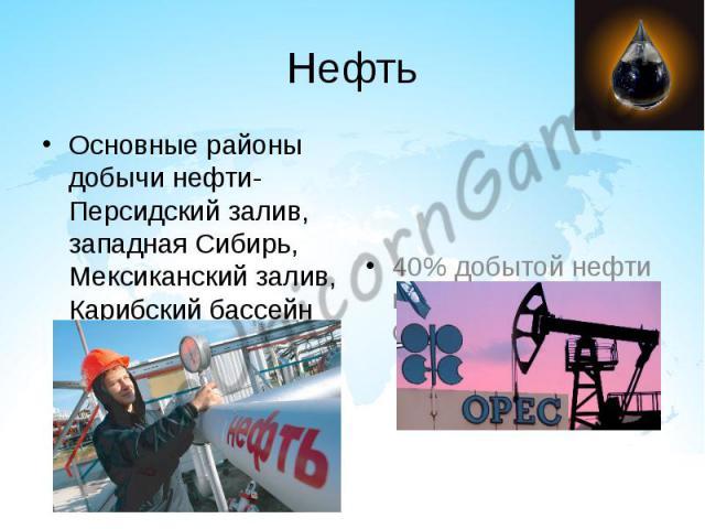Нефть Основные районы добычи нефти- Персидский залив, западная Сибирь, Мексиканский залив, Карибский бассейн