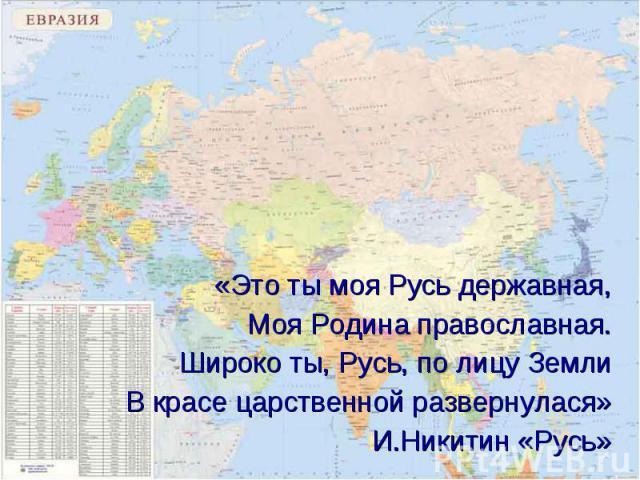 «Это ты моя Русь державная, «Это ты моя Русь державная, Моя Родина православная. Широко ты, Русь, по лицу Земли В красе царственной развернулася» И.Никитин «Русь»