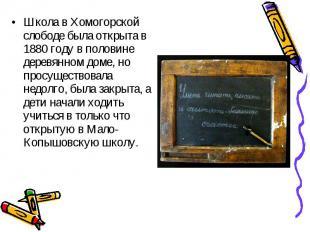 Школа в Хомогорской слободе была открыта в 1880 году в половине деревянном доме,
