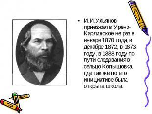 И.И.Ульянов приезжал в Урено-Карлинское не раз в январе 1870 года, в декабре 187