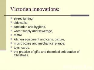 street lighting, street lighting, sidewalks, sanitation and hygiene, water suppl