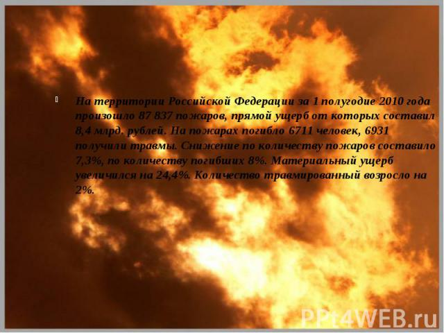 На территории Российской Федерации за 1 полугодие 2010 года произошло 87 837 пожаров, прямой ущерб от которых составил 8,4 млрд. рублей. На пожарах погибло 6711 человек, 6931 получили травмы. Снижение по количеству пожаров составило 7,3%, по количес…