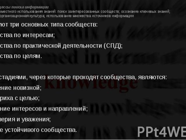 Проект 3. Процессы поиска информации 3. Принципы совместного использования знаний: поиск заинтересованных сообществ; осознание ключевых знаний; дружественная организационная культура; использование множества источников информации Существуют три осно…